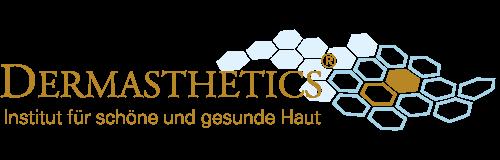 Firmenlogo von Dermasthetics, Institut für schöne und gesunde Haut in Frankfurt am Main. Der Schriftzug Dermasthetics mit Adobe Garamond Pro geschrieben, Subline mit Zurich und ebenfalls in Gold. Im Hintergrund ist eine Wabenstruktur in Zart-Blau als Symbol für gepflegte Haut. Zwei Hautzellen sind als Eyecatcher in Gold markiert. Das Firmenlogo von Dermasthetics, dem Institut für ganzheitliche Ästhetik der Haut aus Frankfurt ist eine registrierte Handelsmarke.